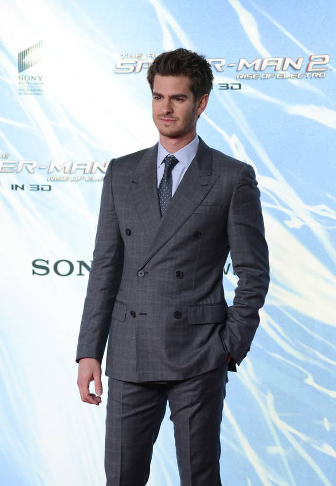 "Andrew Garfield looked dapper in a suit and with short brushed up hair during ""The Amazing Spider-Man 2"" premiere at CineStar, Sony Center, Potsdamer Platz on April 15, 2014 in Berlin, Germany."