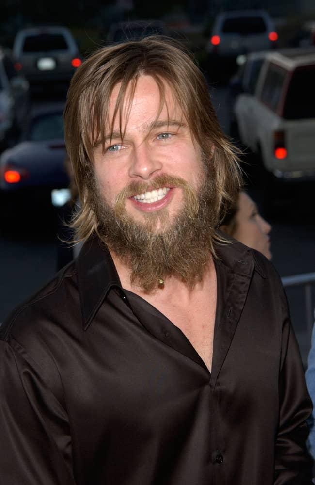 Brad Pitt grew a massive bearded look in 2002.