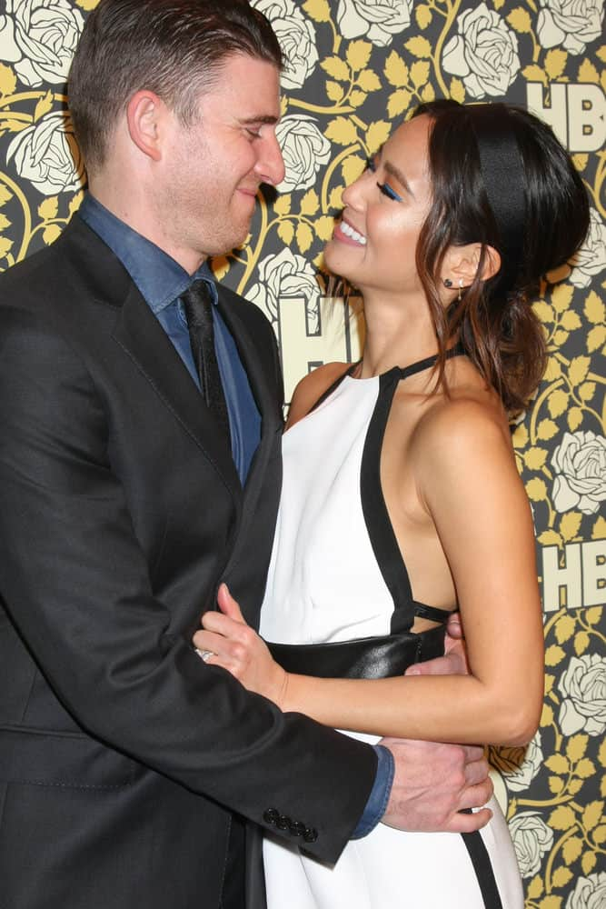 Bryan Greenberg and wife Jamie Chung show their sweet side profiles at the HBO Golden Globes After Party 2016 at the Beverly Hilton on January 10, 2016 in Beverly Hills, CA.