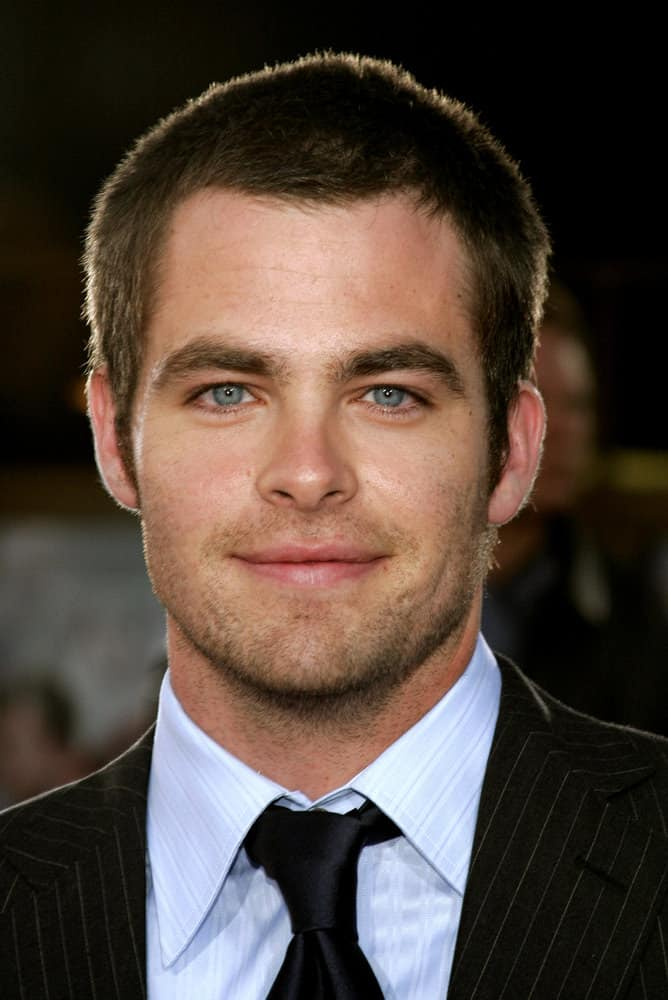"Chris Pine appeared with a buzz cut at the Los Angeles premiere of ""Just My Luck"" in 2006."