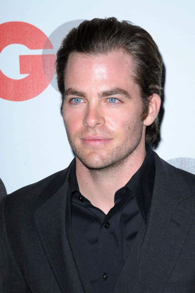 "Chris Pine attended the 2008 GQ ""Men of the Year"" Party at Chateau Marmont Hotel, Los Angeles, CA with a medium-length slicked back hairstyle."