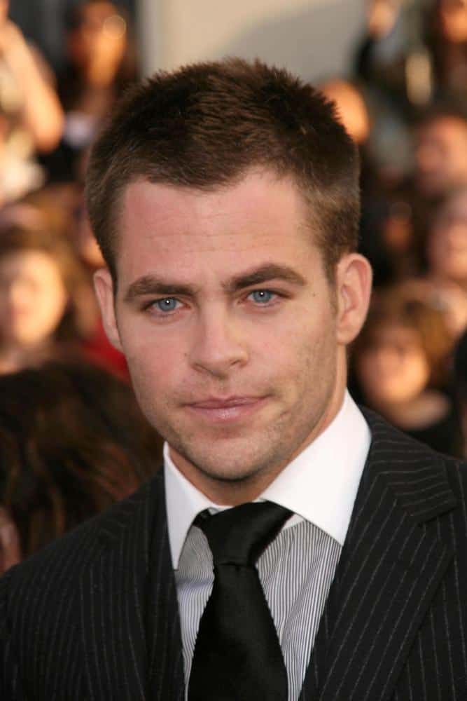 "Chris Pine looked neat and manly with a crewcut during the 2009 premiere of the film ""Star Trek"" in Los Angeles."