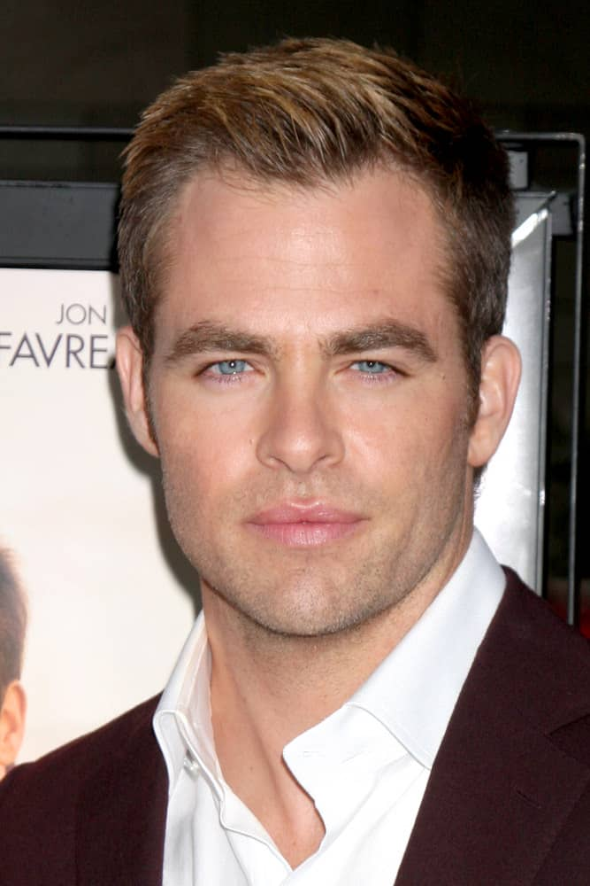 "Chris Pine rocked a dapper look with a blonde crew cut at the LAFF premiere of ""People Like Us"" in 2012."