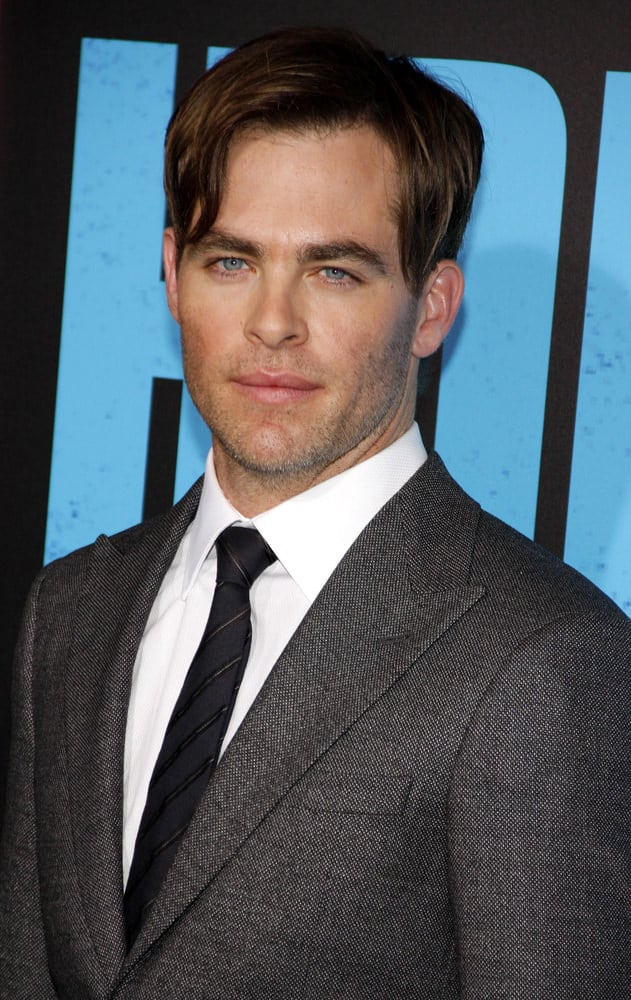 "Chris Pine wore a longer side-swept 'do at the Los Angeles premiere of ""Horrible Bosses 2"" in 2014."