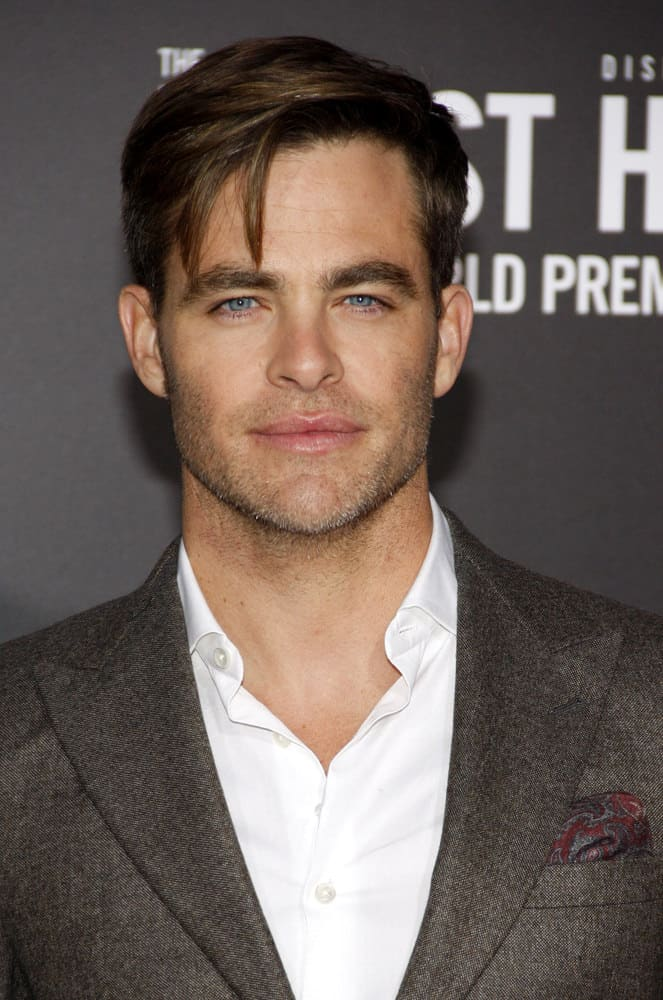 "Chris Pine looked gorgeous styling some long side bangs at the 2016 world premiere of ""The Finest Hours"" in Hollywood, USA."