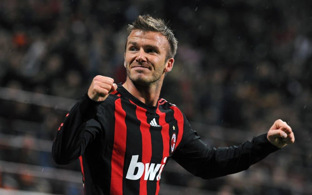 David Beckham had darker short simple haircut during the Italian Serie A soccer match AC Milan vs Palermo, at San Siro stadium, in Milan on April 26, 2009.