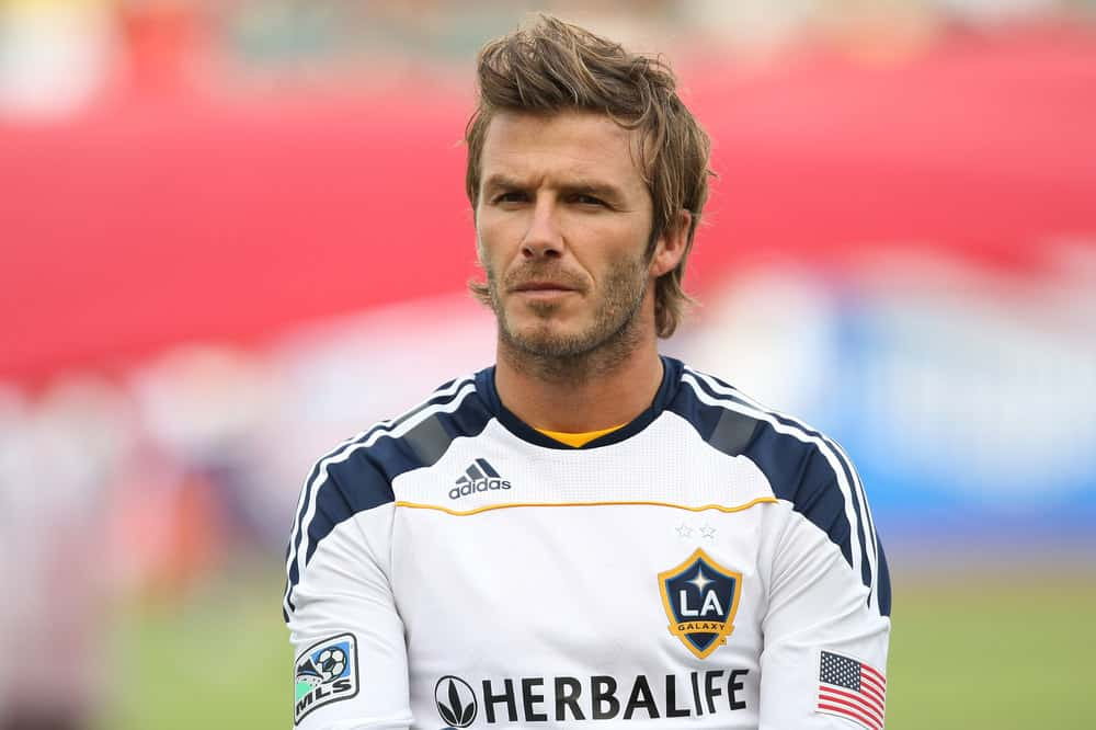 David Beckham sported a tousled hairstyle with an elongated top before the Chivas USA vs Los Angeles Galaxy game on Oct. 3 2010 at the Home Depot Center in Carson, Ca.