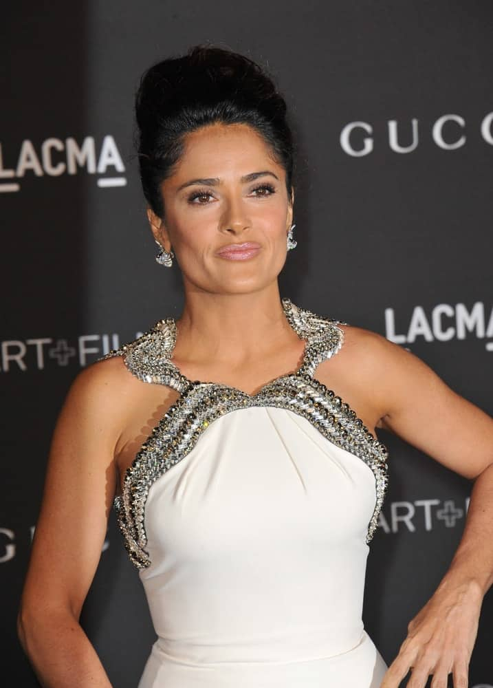 Salma Hayek gathered all her tresses into an elegant beehive at the 2014 LACMA Art+Film Gala on November 1, 2014.