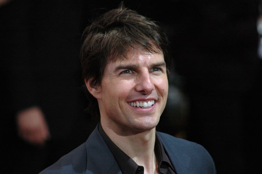 Tom Cruise sported a short haircut with messy straight bangs at the German premiere of the film