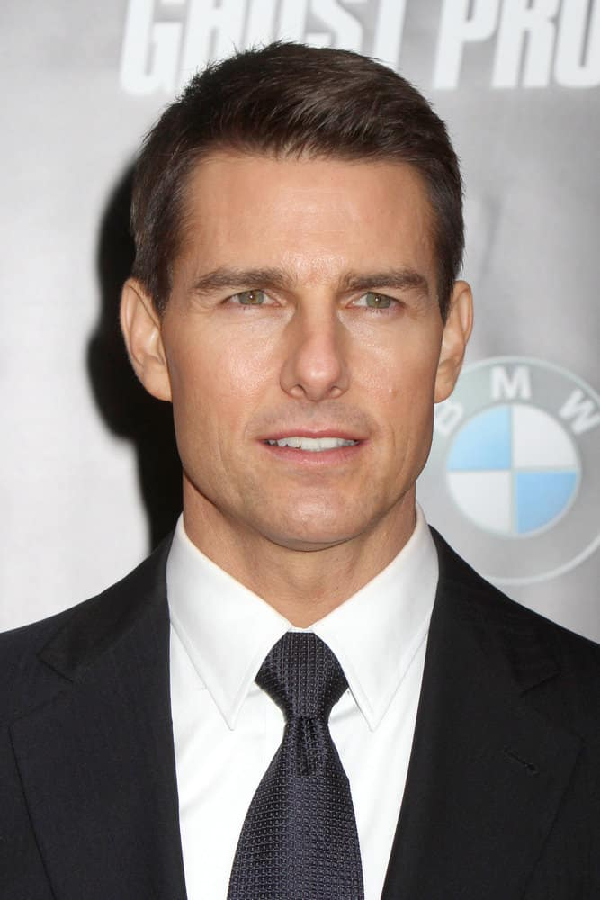 Tom Cruise appeared with a short slicked-back 'do at the premiere of