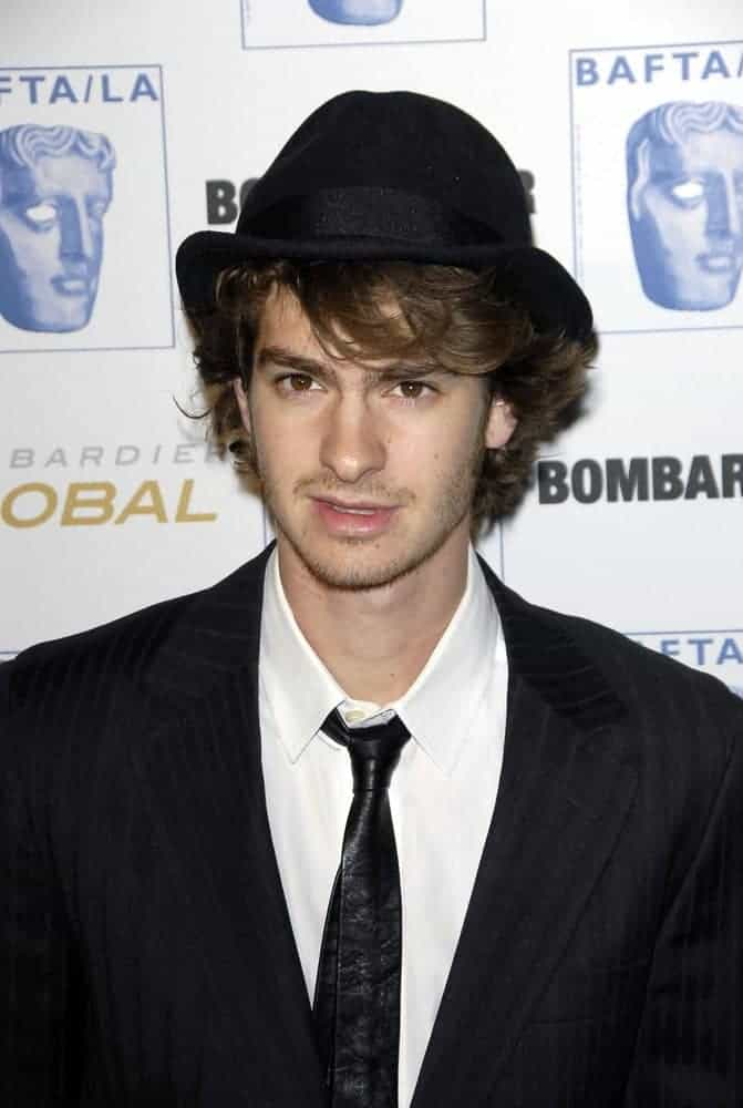 Andrew Garfield looked stylish with a short wavy hairstyle during the 17th Annual BAFTA/LA Brittania Awards at Hyatt Regency Century Plaza Hotel & Spa, Los Angeles, CA on November 06, 2008.