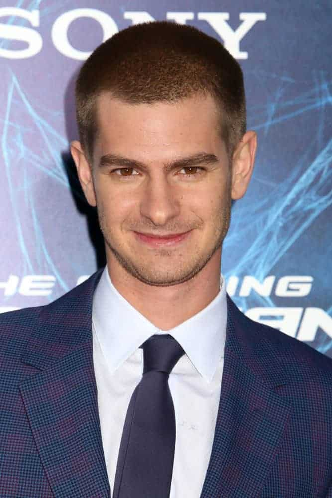 Andrew Garfield looked as sweet as ever even with a manly buzz cut during the premiere of
