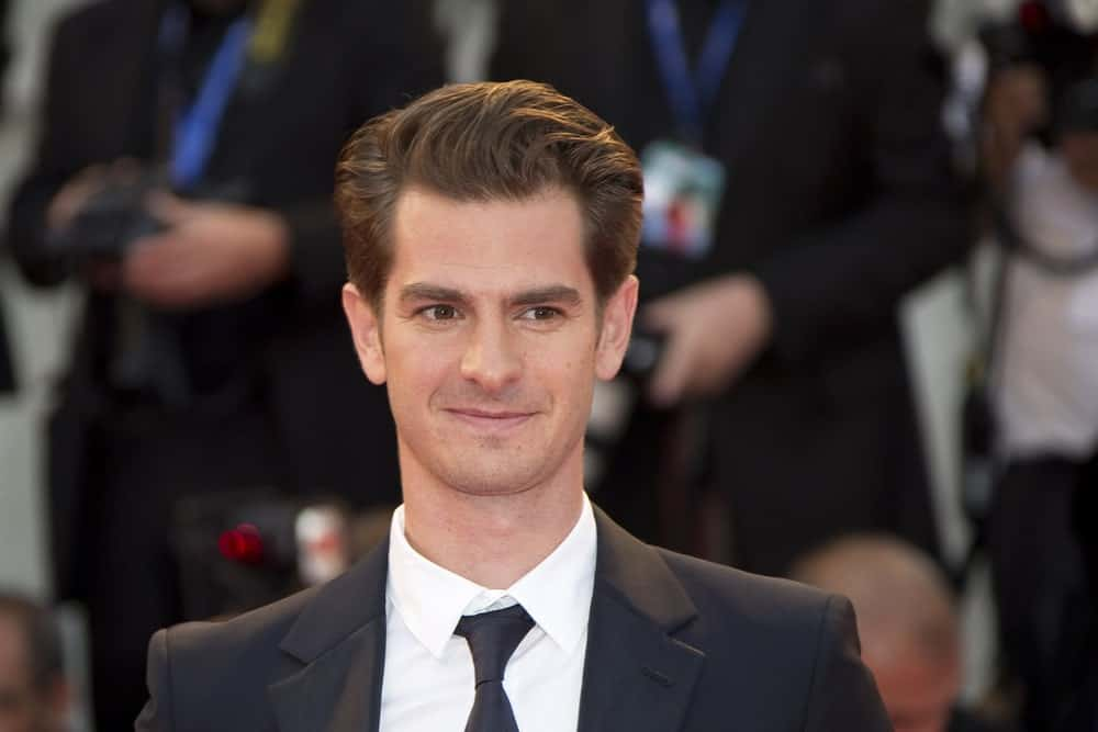 Andrew Garfield with a unique brushed up hairstyle while attending the premiere of his movie 'Hacksaw Ridge' during the 73rd Venice Film Festival on September 4, 2016.