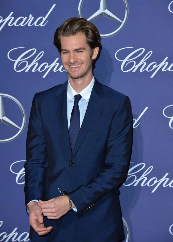 Actor Andrew Garfield at the 2017 Palm Springs Film Festival Awards Gala improvising on his regular hairstyle to come up with a unique look.