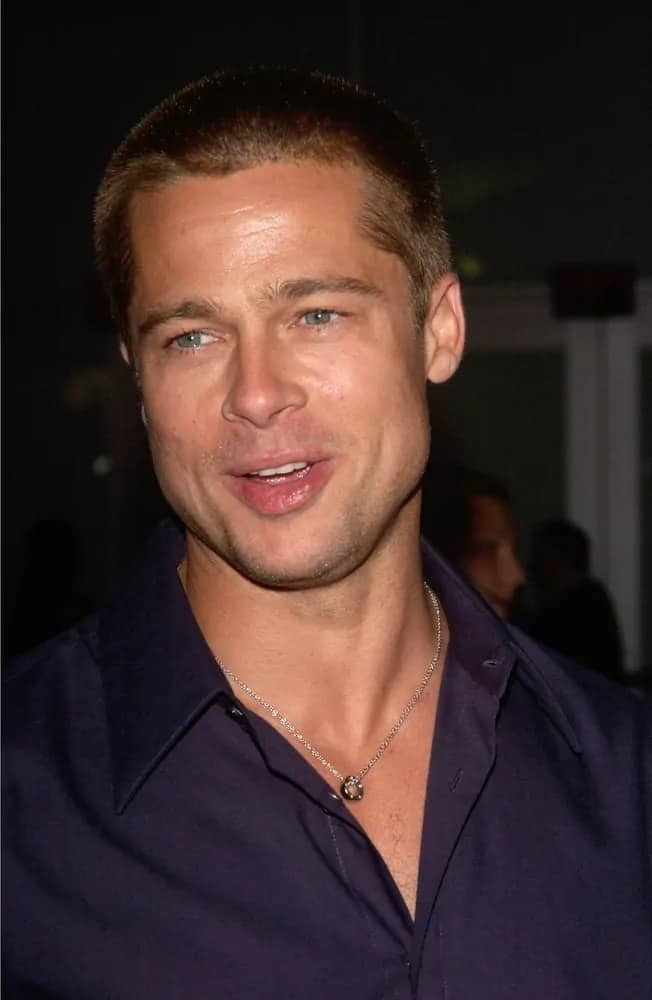 Brad Pitt looked so manly and rugged with his buzz cut that brings out the color of his eyes at the Los Angeles premiere of