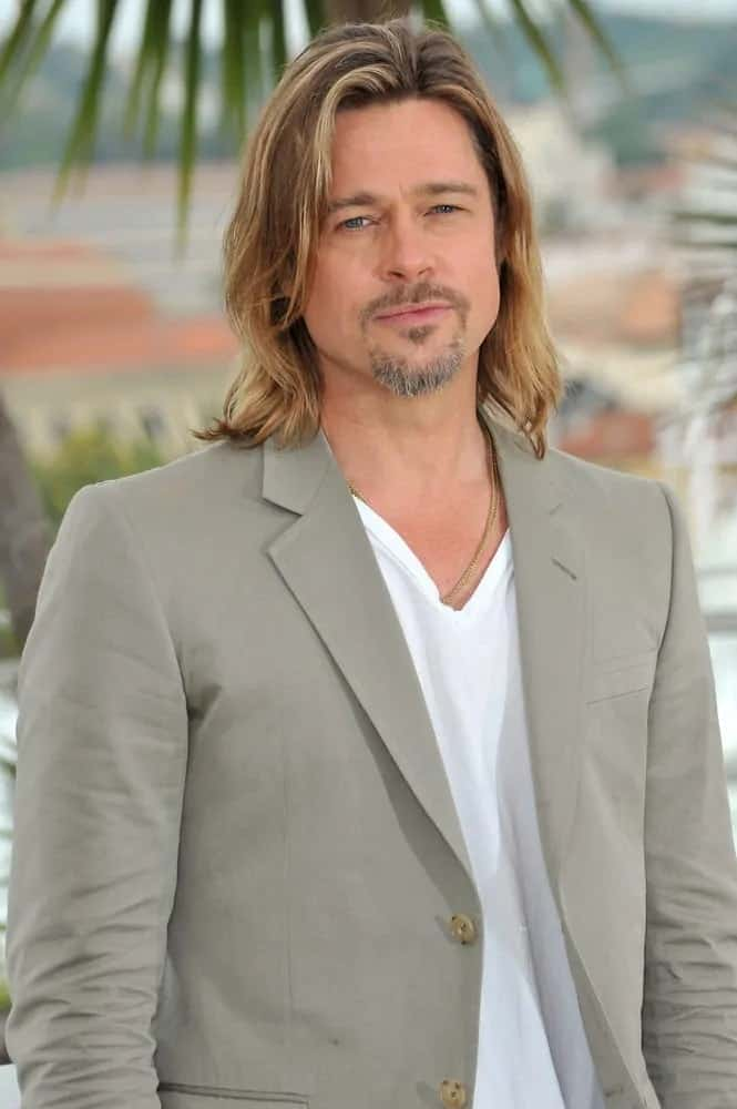 Brad Pitt looked gorgeous with his long highlighted hairstyle and goatee during the photocall for his movie