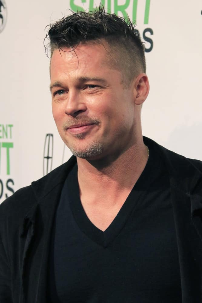 Brad Pitt rocked the tousled mohawk at the Film Independent Spirit Awards at Tent on the Beach back in March 1, 2014 in Santa Monica, CA.