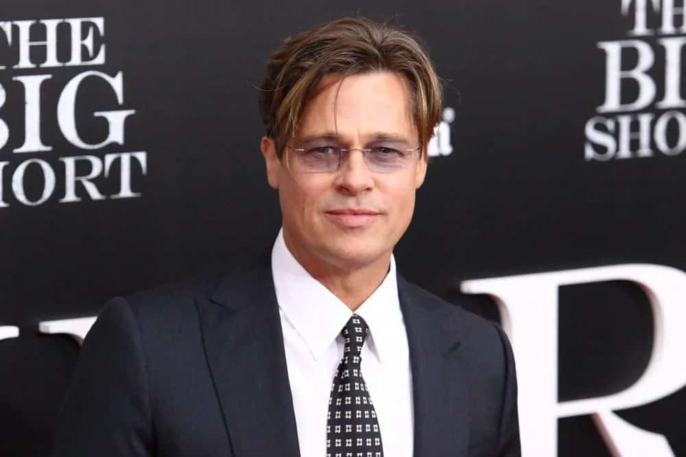 The iconic actor Brad Pitt showed up with a tousled and side-parted casual hairstyle during the premiere of his film