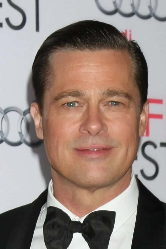 Brad Pitt opted for a vintage classic look with his slicked back hairstyle at the AFI FEST 2015 Presented By Audi Opening Night Gala Premiere of