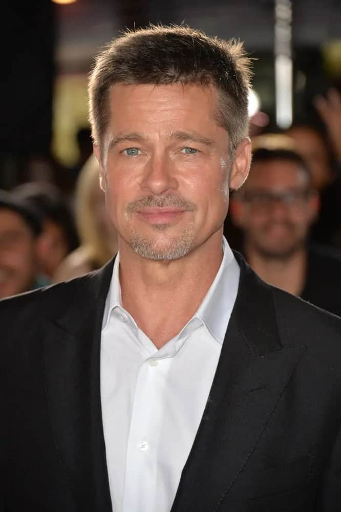 Brad Pitt wore a clean tousled fade hairstyle and a trimmed goatee at the special fan screening for