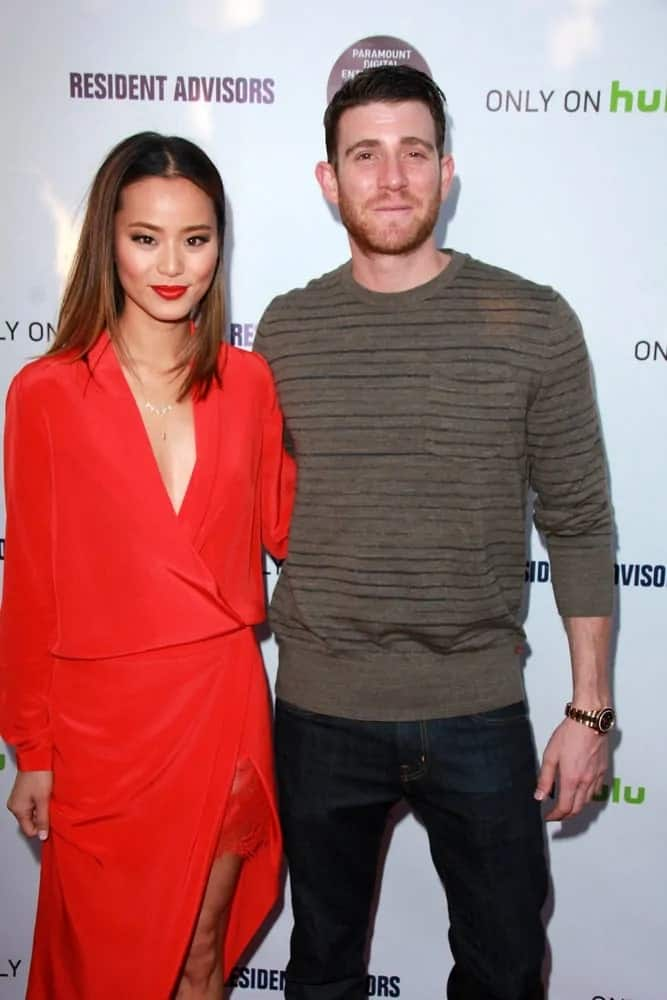 Bryan Greenberg went with a slick side-parted fade hairstyle to match his casual outfit at the