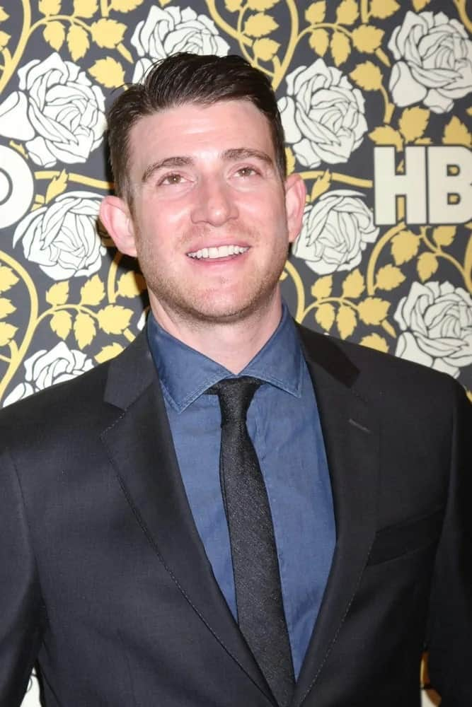 Bryan Greenberg sported a classy short slick side-swept hairstyle that went quite well with his black suit and blue shirt at the HBO Golden Globes After Party 2016 in Beverly Hills, CA.