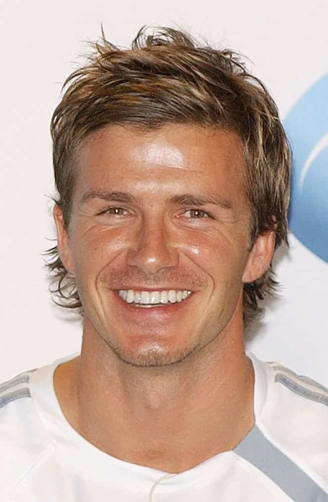 David Beckham went for an elongated razored haircut with highlights during the press conference for David Beckham Launches Home Depot Soccer Academy, at The Home Depot Center Stadium Club, Carson, CA, in 2005.