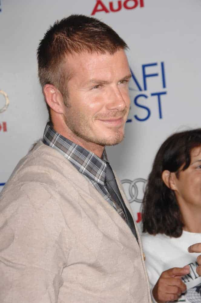 "David Beckham showed up with a crew cut hairstyle at the AFI Fest 2007 opening night gala presentation of ""Lions for Lambs"" at the Cinerama Dome, Hollywood on November 2, 2007."