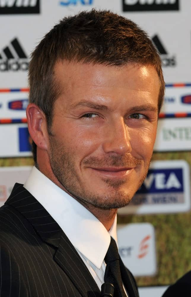 On December 30, 2007, David Beckham sported a short crew cut and some beard while he was presented as the new AC Milan's soccer player, in Milan.