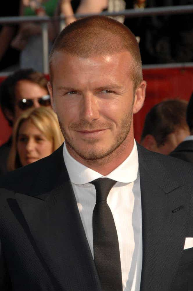 David Beckham pulled off a formal look wearing a suit and tie along with a buzz cut hairstyle when he attended the 2008 ESPY Awards at Nokia Theatre, Los Angeles on July 16, 2008.