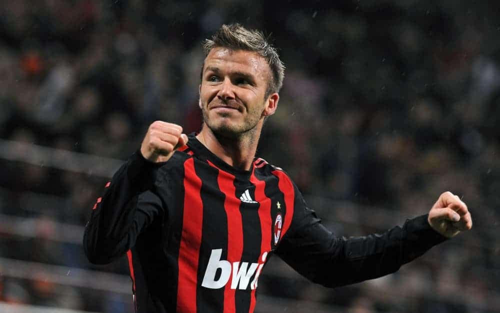 David Beckham had darker short simple haircut during the Italian Serie A soccer match AC Milan vs Palermo, at San Siro stadium, in Milan on April 26, 2009.