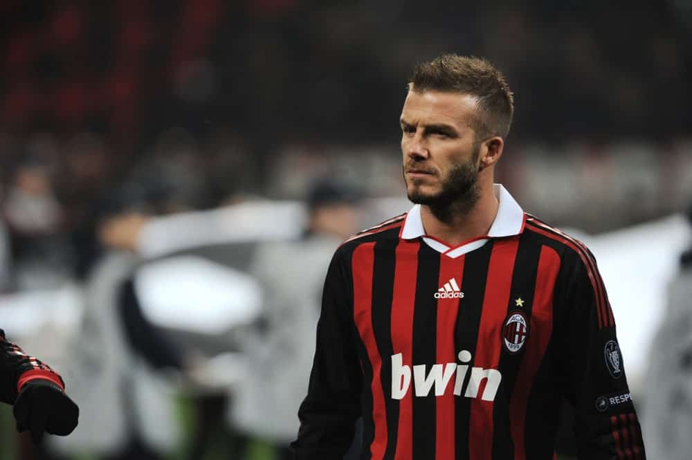 David Beckham had some spikes with his short brunette hair during the match at San Siro stadium at the UEFA Champions League 2009/2010 on February 16, 2010.