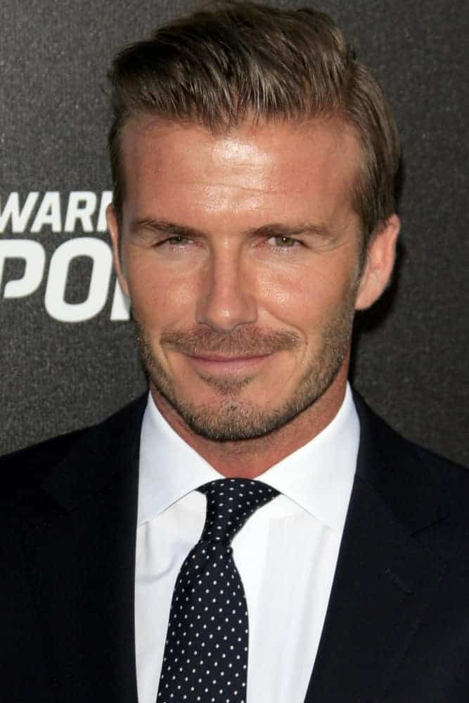 David Beckham was perfectly coiffed with a slicked back hairstyle when he arrived at the Time Warner Sports Launch of TWC Sportsnet at TWC Sports Studios on October 30, 2012 in El Segundo, CA.