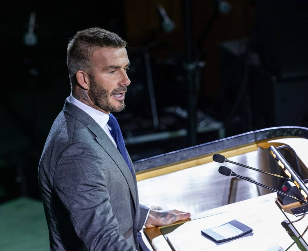 UNICEF Goodwill Ambassador David Beckham spoke at a high-level meeting on the 13th anniversary of the adoption of Convention on Rights of the Child on November 20, 2019. He had a crew cut that smoothly transitioned to his grown beard.