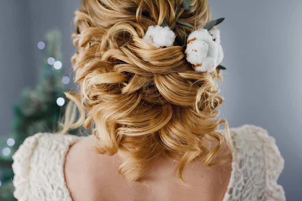Half up, half down wedding hairstyle.