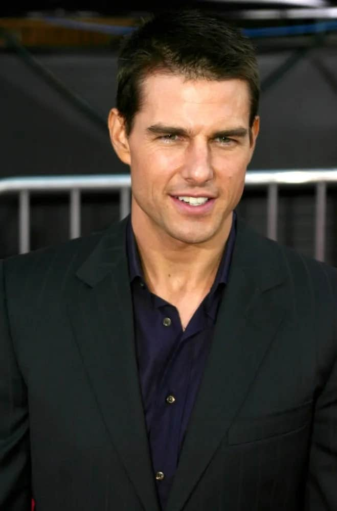 Tom Cruise had a closed-cropped crew cut hairstyle during the world premiere of his film