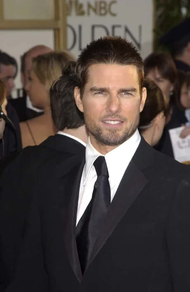 Tom Cruise looked ruggedly handsome with his crew cut and trimmed beard at the 61st Annual Golden Globe Awards at the Beverly Hilton Hotel, Beverly Hills back in 2004.
