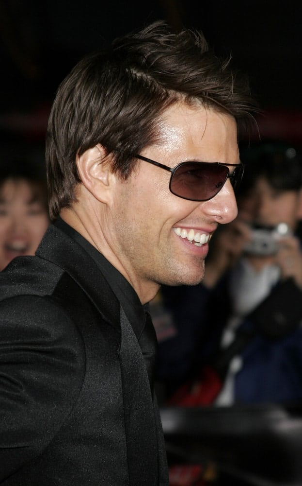 Tom Cruise wore an all-black suit at the Los Angeles premiere of 'Mission: Impossible 3' held at the Grauman's Chinese Theatre in Hollywood back in May 4, 2006 with a tousled and spiked short hairstyle.