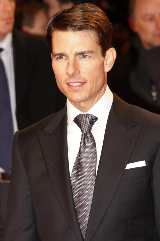 Tom Cruise's handsome bone structure was in full display with his slick side-swept hairstyle for the European premiere of 'Valkyrie' last January 20, 2009 in Berlin, Germany.