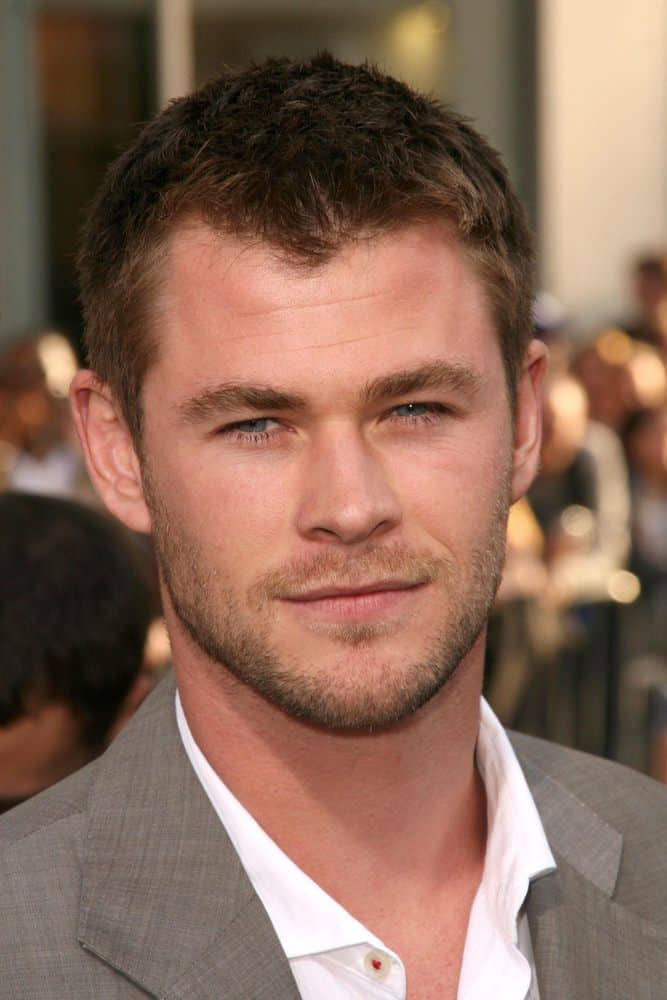 Chris Hemsworth in a classic crew cut hairstyle at the Los Angeles Premiere of 'Star Trek.
