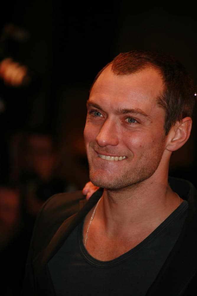 "The thinning hair makes Jude Law look more mature during the UK premiere of ""Sleuth"" at the Odeon West End, London."