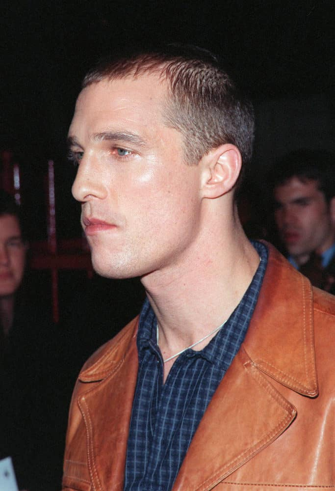 "Matthew McConaughey opted for a buzz cut during the world premiere of his movie ""EDtv"" in 1999."