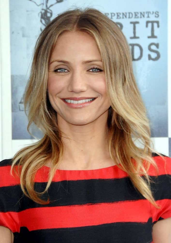 Cameron Diaz wore a simple make that emphasizes her natural beauty paired with her blond layered hair at the Film Independent's 2009 Spirit Awards in Santa Monica last February 21, 2009.