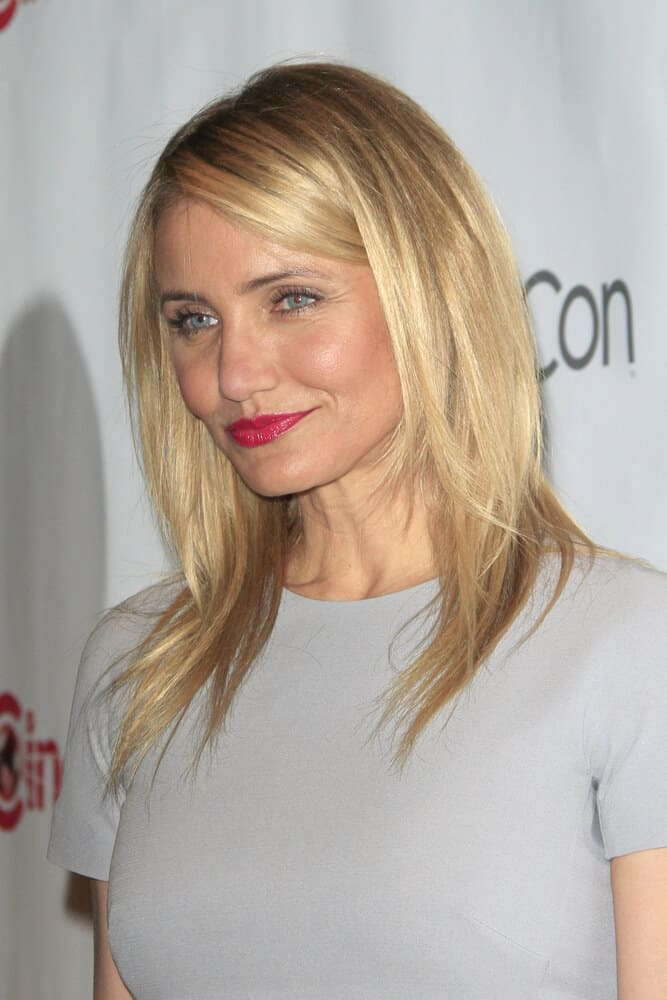 Cameron Diaz keeping it all simple with her slightly layered cut during the 20th Century Fox CinemaCon 2014 Photo Call, March 27, 2014.