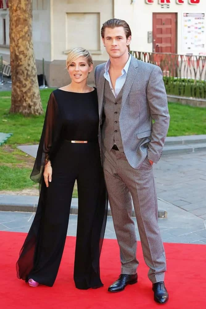 Chris Hemsworth wore a three-piece pinstriped suit with a slicked back hairstyle in the 2013 wold premiere of Rush with wife, Elsa Pataky.