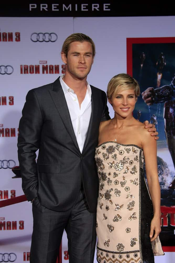Chris Hemsworth was wearing a dark gray suit paired with his slicked back long hair. He was with Elsa Pataky at the