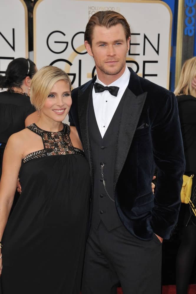Last January 12, 2014, Chris Hemsworth and wife Elsa Pataky were at the 71st Annual Golden Globe Awards at the Beverly Hilton Hotel. Chris wore a velvet suit with an elegant highlight slicked-back hairstyle.