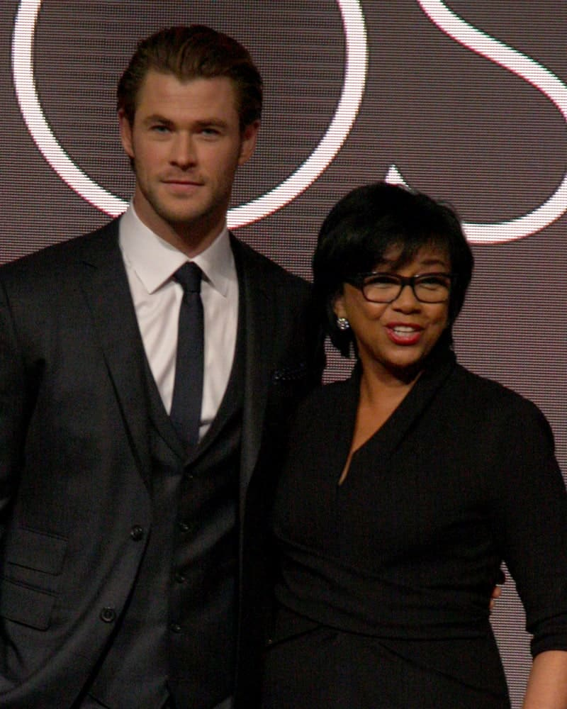 Chris Hemsworth was with Cheryl Boone Isaacs at the 86th Academy Awards Nominations Announcement at AMPAS Samuel Goldwyn Theater last January 16, 2014 in Beverly Hills. Hemsworth was wearing a dapper suit to match his slicked back hair.