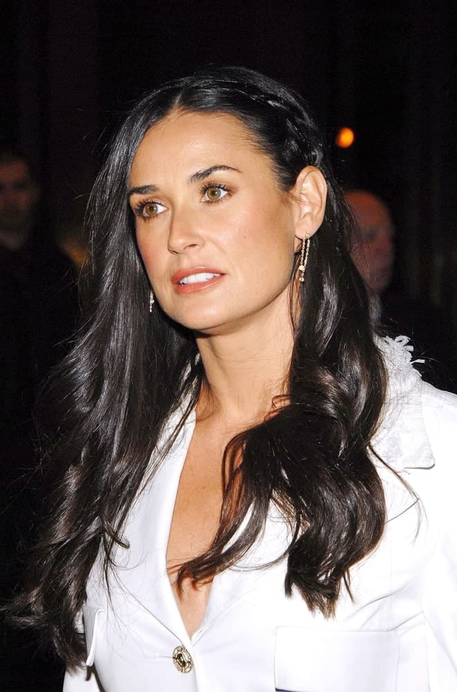 Demi Moore flaunting a permed hairstyle with a side braid that's tucked behind her ears during the FLAWLESS Screening Hosted by The Cinema Society last March 4, 2008.