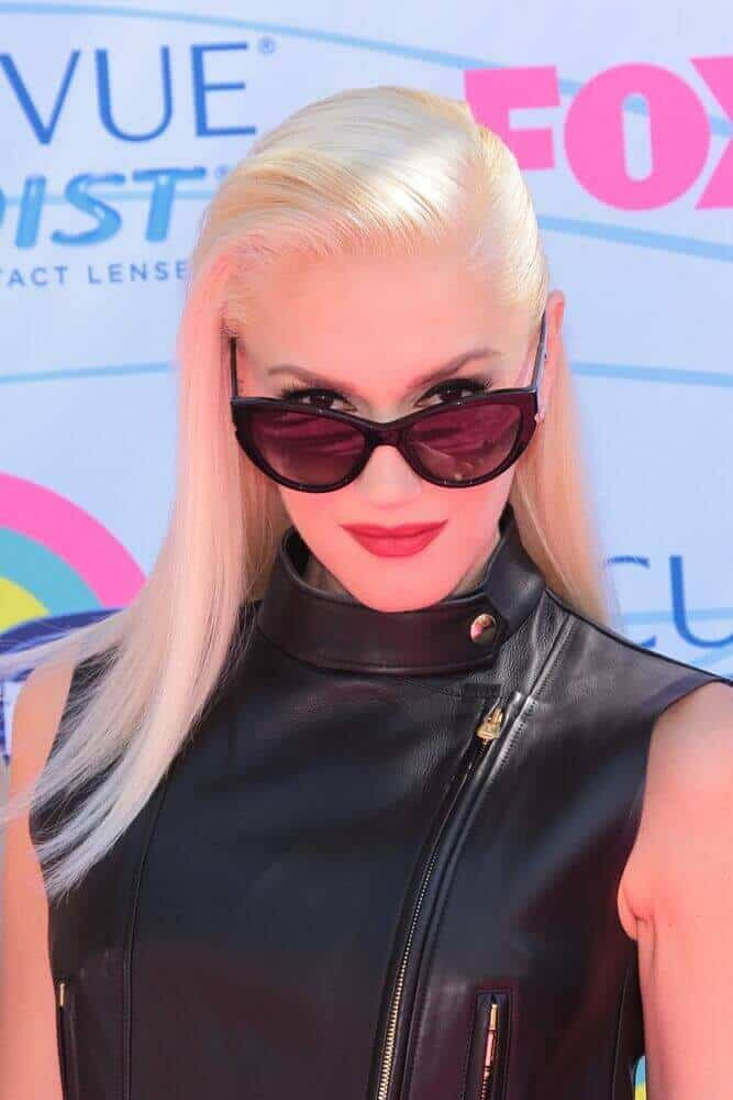 Gwen Stefani wears her leather top and stylish sunglasses with a sleek and straight hairstyle during the 2012 Teen Choice Awards, July 22, 2012.